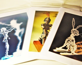 Mounted Prints Featuring Sculptures- Hare, Happiness Fairy and Knight
