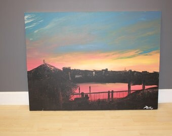 "Origial Acrylic Painting ""Bank's Channel Sunset"" 36""x48""x1.5"""