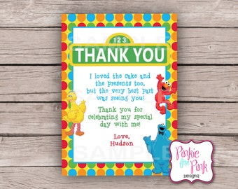 Sesame Street Birthday Party Thank you Card Digital File-download Elmo Big Bird Cookie Monster