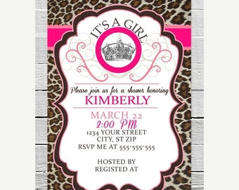 SALE Instant Download diy Pink Cheetah Baby Girl Shower Invitation Leopard Custom Crown Invite 5x7 PDF Printable File Animal Print Party Sup