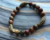 Poppy Jasper and African Brass Stretch Bracelet