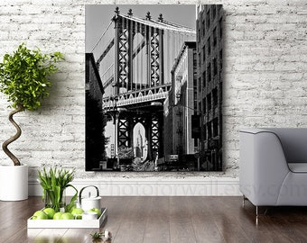 New York photography, large Canvas art, NYC decor black and white photography, New York bedroom decor, Manhattan bridge Empire