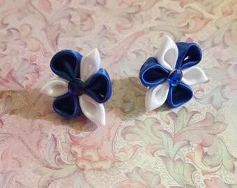 Royal Blue and White Satin Kanzashi Flower earrings