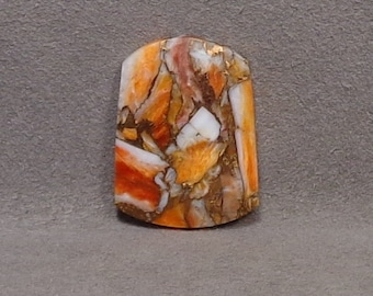 ORANGE SPINEY OYSTER With Bronze Metal Cabochon