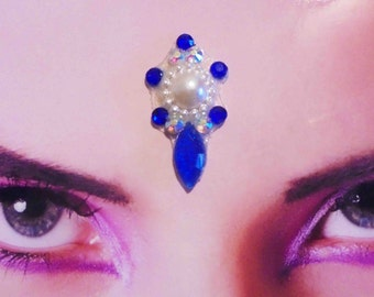 Tribal Bellydance Bindi with Blue and White Rhinestones and Cabochon, large Face Jewel, Gypsy, Indian Woman Jewelry, Bollywood, Sparkly