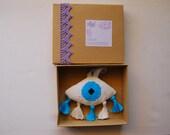 Evileye Ματι, Greek Gouri newborn gift. Hand embroidered Babyroom. Nursery decor Housewarming gift. Babyshower gift. Completed cross stitch