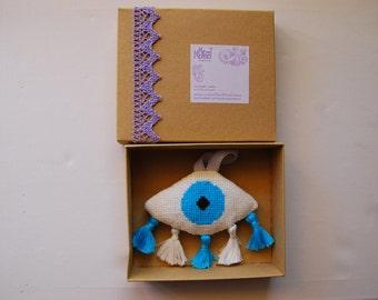 Ματι, Evileye decoration, Greek Gouri newborn gift. Babyroom decor. Nursery. Housewarming gift. Babyshower gift. Completed cross stitch