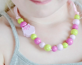 Girl necklace, owl necklace, jewel for toddler, necklace for toddlers, wood necklace, pink owl, necklace, children jewelry, kids gift