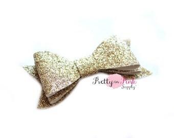 Light Gold Layered Glitter Bows- You Choose Quantity- DIY Headband Supplies- Glitter Bows- DIY Hair Bows- Fabric Bow- Big Bows- DIY Craft