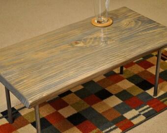 Metal leg table, grey stain
