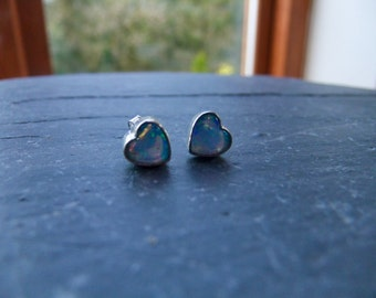 Opal Heart Sterling Silver Stud Earrings