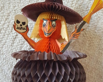 Vintage Halloween Honeycomb Witch in a Cauldron Made In Denmark