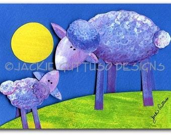 "Sheep art, Giclee print, 5 x 7"", Farm animal nursery decor, Kids room art, 3d paper sculpture print, Whimsical lamb collage, Acrylic animal"