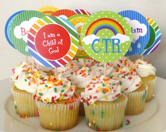 "Great to be 8 Rainbow Cupcake Toppers Printable: LDS Baptism 2"" Party Circles -- Boy or Girl -- Instant Download Decoration"