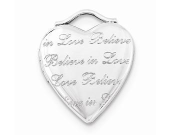 Sterling Silver Believe In Love 20mm Heart Locket