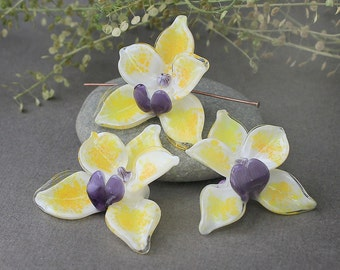 Lampwork Glass Beads Orchid, Handmade Beads, Orchid Flower, Floral Lampwork, Lampwork Flower Beads, Orchid, Handmade Orchid, Lampwork Orchid