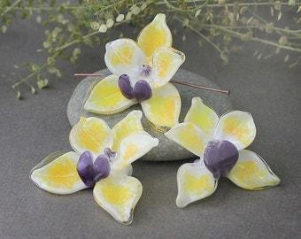 Lampwork Glass Beads Orchid, Handmade Beads, Orchid Flower, Floral Lampwork, Lampwork Flower Beads, Orchid, Handmade Orchid, Lampwork Orchid