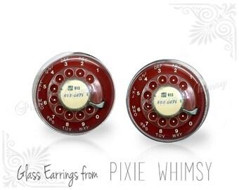 TELEPHONE Earrings, Telephone Stud Earrings, Phone Post Earrings, Phone Stud Earrings, Phone Pierced Earrings, Vintage Rotary Dial Telephone