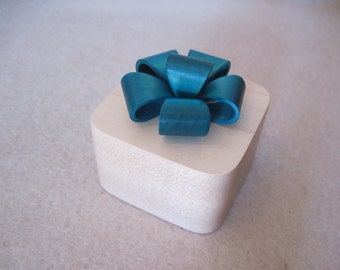 Engagement Ring Box  Maple with a Turquoise Bow