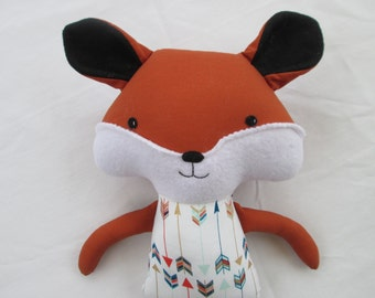 Fox Softie with Arrows Outfit- gender neutral baby or toddler gift, Christmas toddler gift, woodland stuffed animal, Ready to ship