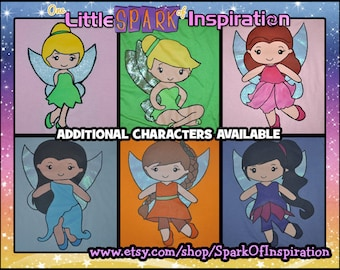 Cuties Collection Tinkerbell Tink Pixie Hollow Fairies Rossetta Silvermist Vidia Fawn Iridessa Tote or T-Shirt Commission