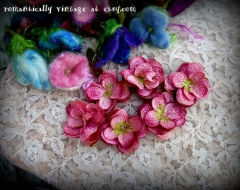 Flowers, Pink, Silk, Appliques, Sewing Trim,  Embellishments, Shabby Chic, Craft Supplies, Victorian, Country, Rustic