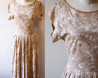 1960s brown roses dress // 1960s nylon dress // vintage dress