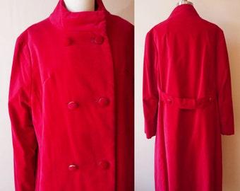 1960s red velvet coat // pea coat // vintage jacket