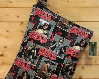 Cloth Diaper Wetbag, The Walking Dead, Diaper Pail Liner, Diaper Bag, Day Care Size, Holds 12 Diapers, Size Large with Handle #L32