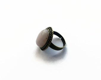 Rose Quartz Cameo Ring