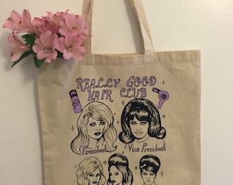 Really good hair club purple ink tote