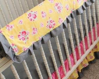 Bumperless Crib Bedding with Ruffle Skirt