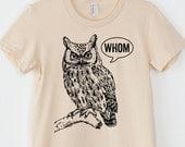 Funny Grammar Shirt Whom Owl Shirt Womens Shirt English Teacher Gift for Teachers Grammatical Owl Cool Funny T Shirt Women Typography Tshirt