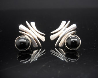 Sterling Silver Onyx Earrings Abstract