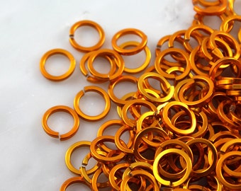 16 ga 5/16, 125 Square Orange Anodized Aluminum Chainmail Jump Rings
