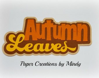 Elite4u Mindy Fall Autumn Leaves title Premade paper piecing for scrapbook page album