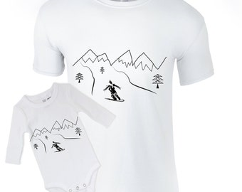 Matching father child shirts, snowboarding bodysuit tee, father son outfit, dad daughter shirts, unisex snowboard tops