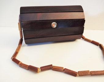 Wood Slat Shoulder Bag - Vintage Wood Slat Box Purse - Felt Lined - 1970's - Boho Chic
