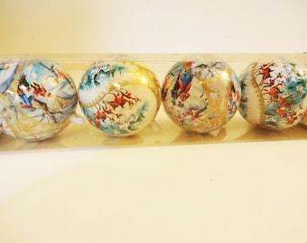Vintage Bradford Plastic Victorian Christmas Ornaments -  Box of 4 - Unbreakable - Indoor Outdoor Ornaments
