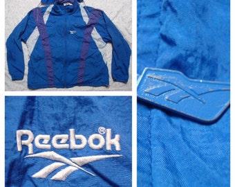 Vintage Men's Reebok Jacket XL Light Blue Purple White Stripes Running Windbreaker Full zip Track Jacket