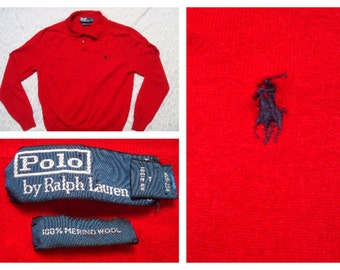 Vintage Red Men's Polo Ralph Lauren Sweater Red Merino Wool Polo Collar Sweater XL Large