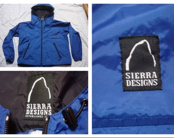 Vintage Retro Men's Sierra Designs Jacket Parka Blue Full-zip Windbreaker Rain Jacket Large