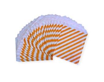 Orange Diagonal Stripe Candy Treat Bags, Party Favor Bags, Party Supplies