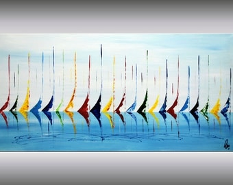 "Acrylic painting, abstract original painting, sailboat, colorful painting, stretched canvas art, contemporary art, 48"", Ettis Gallery"