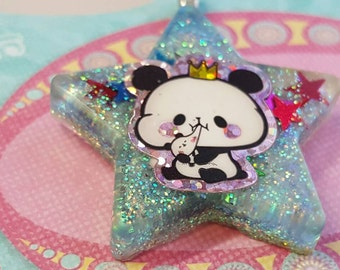 Panda Necklace, Star Panda Pendant, Kawaii Panda Necklace, Kawaii Necklace, Kawaii Pendant, Resin Panda Pendant, Kawaii Panda, Kawaii Star