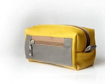 Yellow  Handmade Leather Pencil Case, Pen Bag