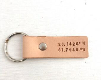 Custom Coordinates Leather Key Ring - Third Anniversary Gift - 3rd Anniversary Gift for Wife or Husband - Latitude Longitude GPS Coordinates