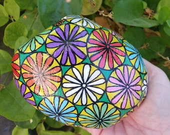 Flower design, Flower pattern, gifts for woman, table centerpiece, gift for grandma, Painted rocks, painted stone, rock art, Gifts for Her