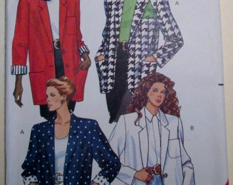 1991 Butterick 5274 misses / misses petite oversized jacket with contrast sleeve lining pattern sizes 14, 16, 18 included UNCUT