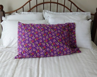 Purple Tropical Print Flannel Pillow Case (Standard Size)